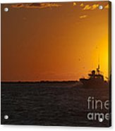Sunset With Fishing Boat At Sea Acrylic Print
