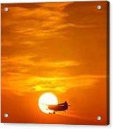 Sunset With Plane Acrylic Print