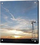 Sunset With Windmill Acrylic Print