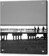 Sunsets On Coney Island In Black And White Acrylic Print