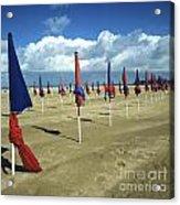Sunshade On The Beach. Deauville. Normandy Acrylic Print by Bernard Jaubert