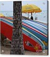Surfboards On Waikiki Beach Acrylic Print