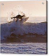 Surfer At Dusk Riding A Wave At Rincon Acrylic Print