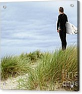 Surfer At The Beach Checking Out The Ocean Waves Acrylic Print