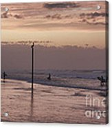 Surfers Pelicans And Pink Sky Acrylic Print