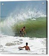 Surfing In The Wake Of Hurricane Irene Acrylic Print