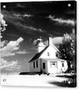Surreal Black White Infrared Black Sky Lighthouse - Traverse City Michigan Mission Point Lighthouse Acrylic Print