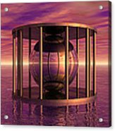 Metal Cage Floating In Water Acrylic Print