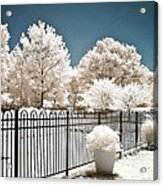 Surreal Michigan Infrared Nature - Dreamy Color Infrared Nature Fence Landscape Michigan Infrared Acrylic Print