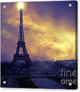 Surreal Fantasy Paris Eiffel Tower Sunset Sky Scene Acrylic Print by Kathy Fornal