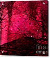 Surreal Fantasy Red Nature Trees And Birds Acrylic Print by Kathy Fornal