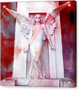 Surreal Impressionistic Red White Angel Art  Acrylic Print by Kathy Fornal