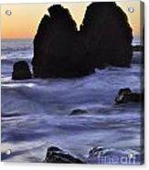 Surreal Surf Cascading On The Rocks Acrylic Print