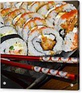 Sushi And Chopsticks Acrylic Print