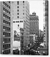 Sutter Street West View . Black And White Photograph 7d7506 Acrylic Print by Wingsdomain Art and Photography