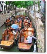 Suzhou Canal Traffic Jam Acrylic Print