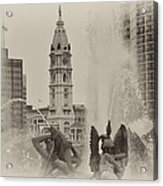 Swann Memorial Fountain In Sepia Acrylic Print by Bill Cannon