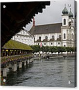 Swans Float Past The Old Town Acrylic Print by Taylor S. Kennedy