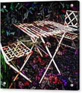 Table And Chairs Acrylic Print by Joan  Minchak