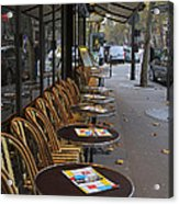 Tables Outside A Paris Bistro On An Autumn Day Acrylic Print