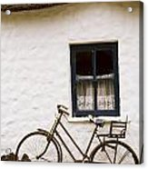 Tahtched Cottage And Bike Acrylic Print