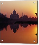 Taj Mahal & Silhouetted Camel & Reflection In Yamuna River At Sunset Acrylic Print