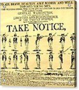 Revolutionary War  Take Notice  Acrylic Print
