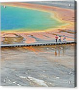 Taking A Stroll At Yellowstone's Grand Prismatic Acrylic Print by Bruce Gourley