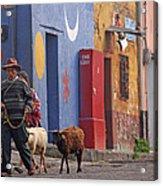 Taking Sheep To Market At Chichicastenango Acrylic Print