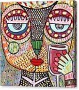 Talavera Feather Owl Drinking Red Wine S Acrylic Print