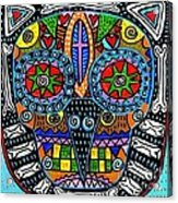Talavera Sugar Skull Owl Acrylic Print