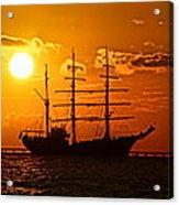 Tall Ship At Sunset Acrylic Print