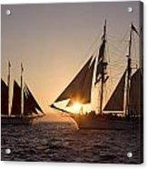 Tall Ships At Sunset Acrylic Print