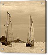 Tall Ships Sailing In Sepia Acrylic Print