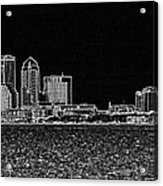 Tampa Panorama Digital - Black And White Acrylic Print