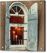 Taos Window With Candlelight Acrylic Print