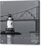 Tarrytown Lighthouse And Tappan Zee Bridge Viii Acrylic Print by Clarence Holmes
