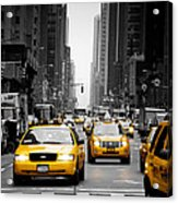 Taxis On 6th Avenue Acrylic Print