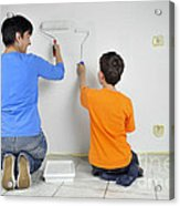 Teamwork - Mother And Child Painting Wall Acrylic Print by Matthias Hauser