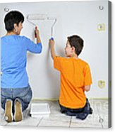 Teamwork - Mother And Son Painting Wall Acrylic Print