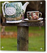 Teapot And Tea Cup On Old Post Acrylic Print by Garry Gay