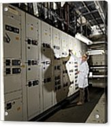 Technician With Air Conditioning Units Acrylic Print by Tek Image