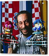 Technician With Lego Footballers At Robocup-98 Acrylic Print