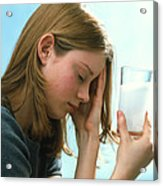 Teenager With Headache Holds Dissolving Painkiller Acrylic Print