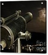 Telescope And Red Moon Acrylic Print