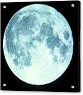 Telescope Photo Of Full Moon From Earth Acrylic Print