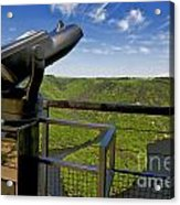 Telescope With View On Meander Of Queuille. Auvergne. France. Europe Acrylic Print