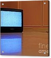 Television Displaying Static Reflected In Floor Acrylic Print