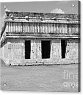 Temple Of The Turtles At Uxmal Mexico Black And White Acrylic Print