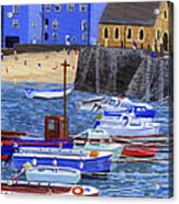Painting Tenby Harbour With Boats Acrylic Print